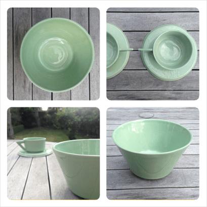 pottery set mint green ceramic