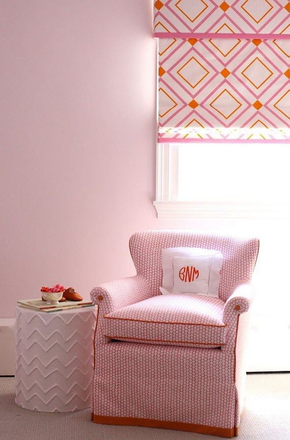 Girl's Bedroom With Orange+pink Roman Shade  Simplified Bee