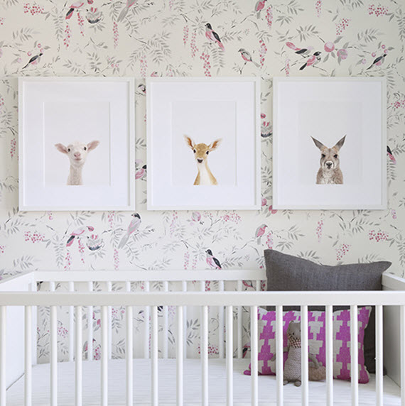 Girls Nursery  Bird Wallpaper  The Animal Print Shop