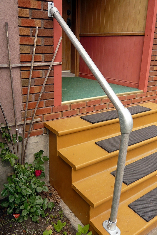 Sr 055C58 Terminated Wall To Floor Accessibility Stair Hadnrail | Wall To Floor Handrail | Glass | Paint Colors | Staircase | Wrought Iron | Concrete