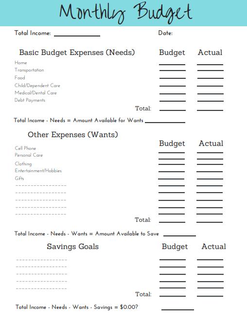 simple budget template printable