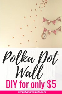 DIY Gold Polka Dot Wall for only $5 - pink and gold girl room decor - budget-friendly inexpensive wall decor