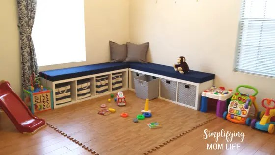 IKEA Kallax Hack Storage Benches For Playroom Window