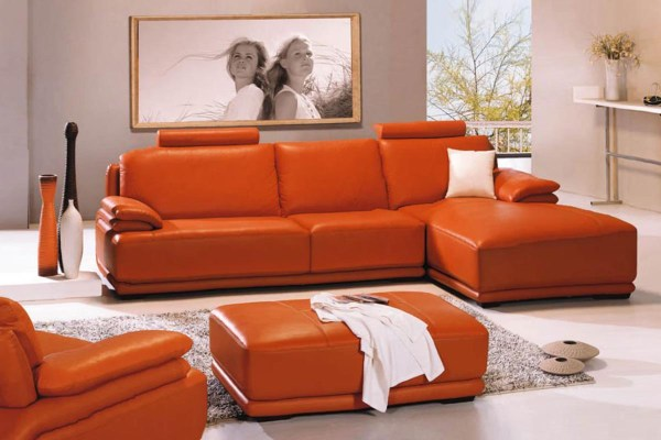 Orange Leather Sofa Sets