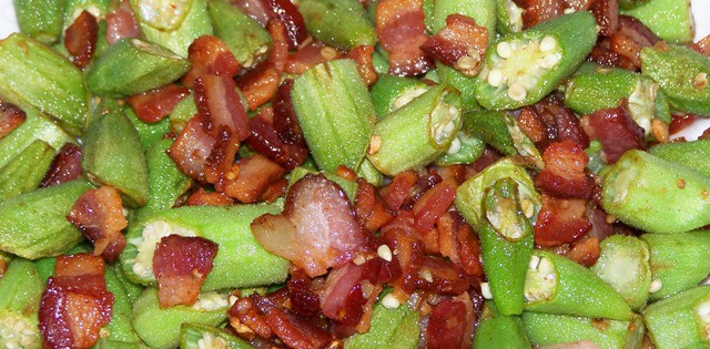 okra and bacon