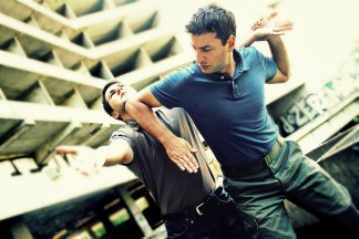 Two men doing Krav Maga
