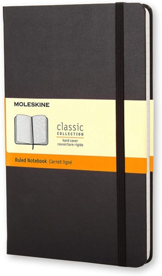 """Moleskine Classic Notebook, Hard Cover, Large (5"""" x 8.25"""") Ruled/Lined, Black, 240 Pages"""