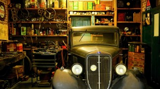 A retro car in a garage