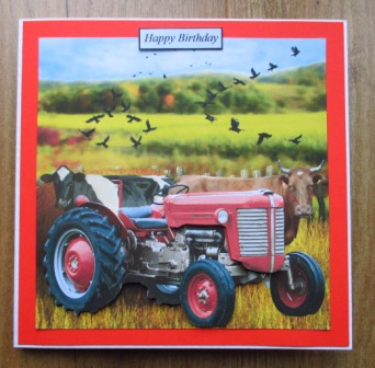 red tractor cows birthday card