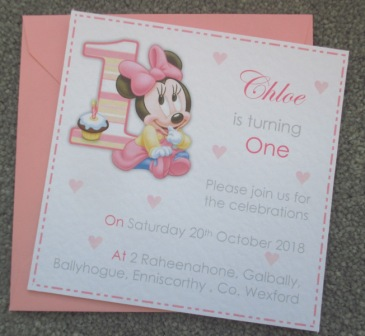 10 x minnie mouse 1st birthday party invitations 5x5