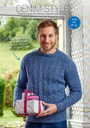 Strickanleitung blauer Herrenpullover Simply Stricken 0216