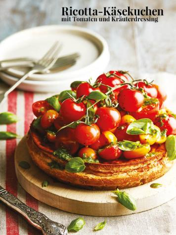 Rezept - Ricotta-Käsekuchen mit Tomaten und Kräuterdressing - Simply Kreativ – Neue Rezepte für den Thermomix® 03/18