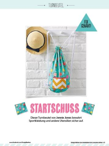 Nähanleitung - Startschuss - Simply Kreativ Geschenkideen + Accessoires Näh-Sonderheft 01/2018