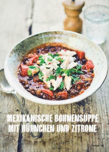 Rezept - Mexikanische Bohnensuppe mit Hühnchen und Zitrone