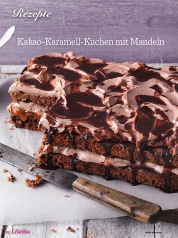 Rezept - Kakao-Karamell-Kuchen mit Mandeln - Das große Backen - 10/2018