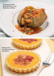Rezept - Hausgemachte Baked Beans mit Backkartoffeln / Rhabarber-Vanillepudding-Törtchen - Simply Kreativ - Vegan-Guide 01/2019