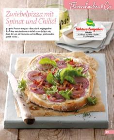 Rezept - Zwiebelpizza mit Spinat und Chiliöl - Simply Kochen mini – Rezepte für den Thermomix® 06/2018