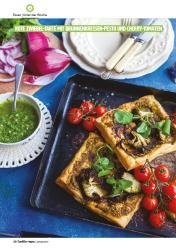 Rezept - Rote Zwiebel-Tarte mit Brunnenkressen-Pesto und Cherry-Tomaten - Healthy Vegan 01/2019