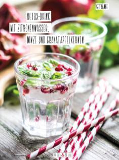 Rezept - Detox-Drink mit Zitronenwasser, Minze und Granatapfelkernen - Simply Kochen Sonderheft Detox 01/2019