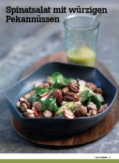 Rezept - Spinatsalat mit würzigen Pekannüssen - Healthy Vegan Sonderheft - Vegan - 01/2019
