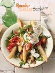 Rezept - Rucola-Salat mit gebratenem Spargel und Ziegenkäse - Simply Kochen Sonderheft - Frühlingssalate
