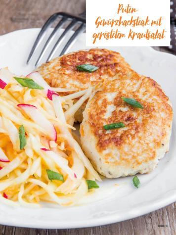 Rezept - Puten-Gewürzhacksteak mit geröstetem Krautsalat - Bewusst Low Carb