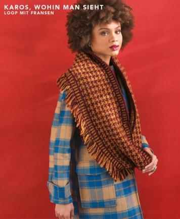 Strickanleitung - Karos wohin man sieht - Loop mit Fransen - Designer Knitting - 03/2019