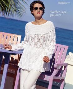 Strickanleitung - Weißer Lacepullover - Designer Knitting 04/2019