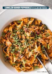 Rezept - Cannellini-Bohnen-Pappardelle mit Sellerie und Mangold - Healthy Vegan 05/2019
