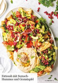 Rezept - Fattoush mit Sumach-Hummus und Granatapfel - Healthy Vegan 05/2019
