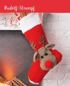 Häkelanleitung - Rudolf-Strumpf - Mini Häkeln Weihnachts-Ideen Vol. 11