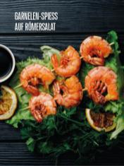 Rezept - Garnelen-Spieß auf Römersalat - Bewusst Low Carb Sonderheft – 03/2019