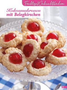 Rezept - Kokosmakronen mit Belegkirschen - Weihnachtsbäckerei 01/2019