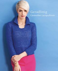 Strickanleitung - Geradlinig - Gestreifter Lacepullover - Designer Knitting 06/2019