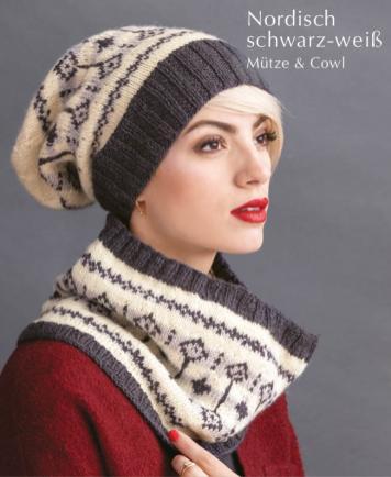 Strickanleitung - Nordisch schwarz-weiß - Mütze & Cowl - Designer Knitting 06/2019