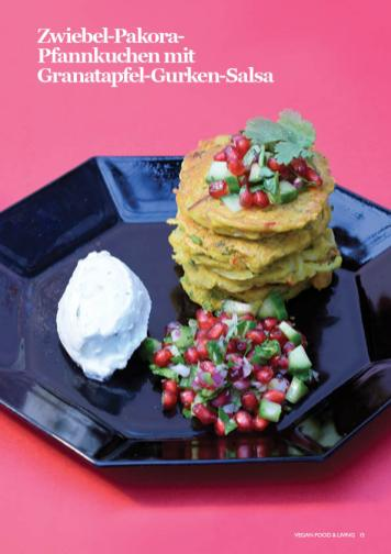 Rezept - Zwiebel-Pakora-Pfannkuchen mit Granatapfel-Gurken-Salsa - Vegan Food & Living – 02/2020