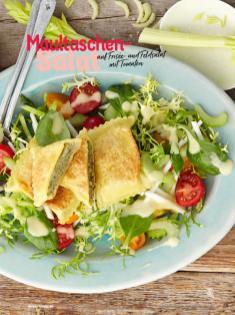 Rezept - Maultaschen-Salat auf Frisée und Feldsalat mit Tomaten - Simply Kochen Sonderheft Sommerrezepte 01/2020