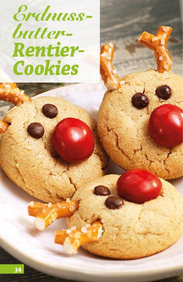 Rezept - Erdnussbutter-Rentier-Cookies - Simply Backen Sonderheft Weihnachts-Plätzchen – 01/2020