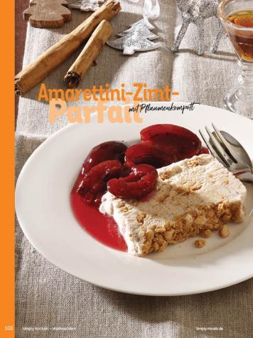 Rezept - Amarettini-Zimt-Parfait mit Pflaumenkompott - Simply Kochen Weihnachten 01/2020