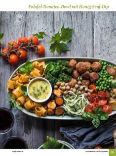 Rezept - Falafel-Tomaten-Bowl mit Honig-Senf-Dip - Simply Kochen Sonderheft: One-Pot-Gerichte