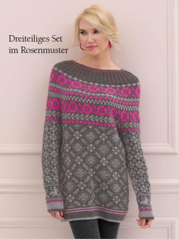 Strickanleitung - Dreiteiliges Set im Rosenmuster - Best of Designer Knitting 01/2021