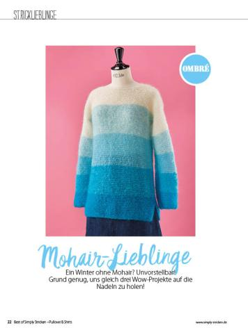 Strickanleitung - Mohair-Lieblinge - Simply Stricken Sonderheft Best of Pullover & Shirts 02/2020