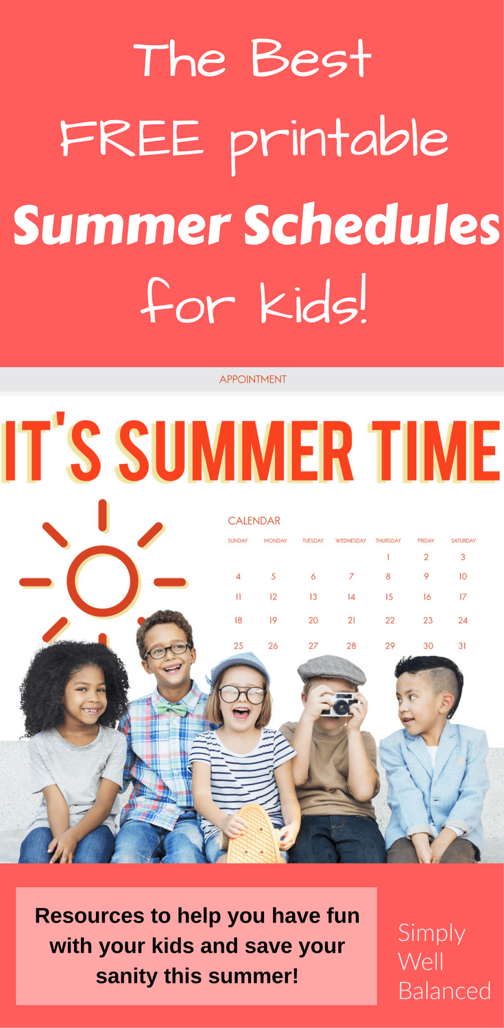 The best free printable summer schedules for kids. How to keep kids busy during the summer. Tips and tricks for summer schedules.