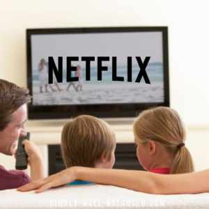 Family watching good clean tv shows on Netflix