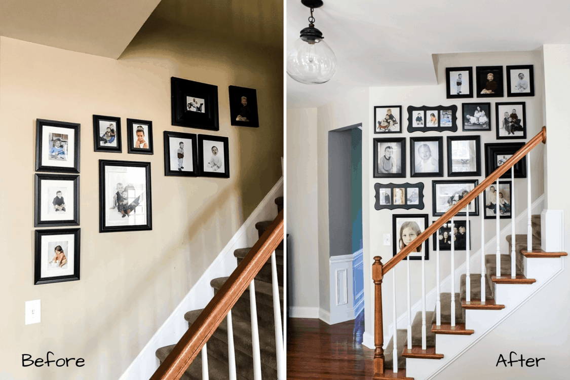 Staircase Gallery Wall Simply2Moms | Staircase Side Wall Design | Farmhouse | Ladder | Bookshelf | Small Space | Beautiful