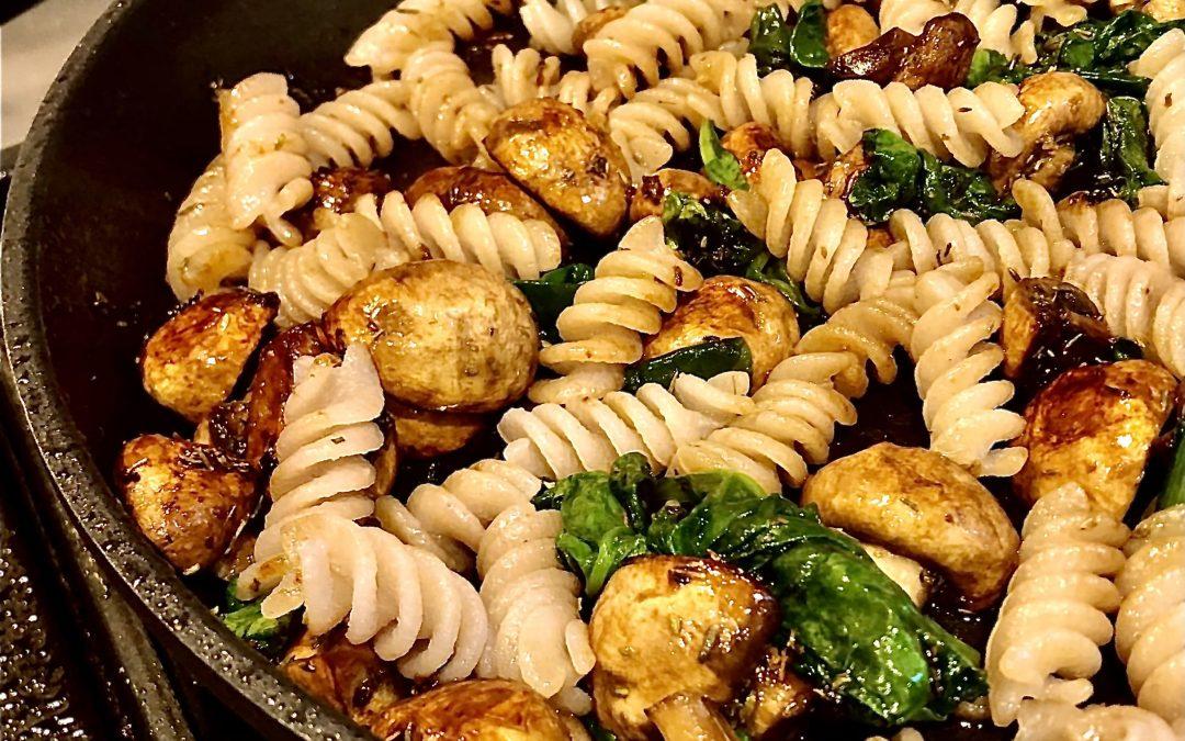 Garlic Spinach & Mushroom Pasta