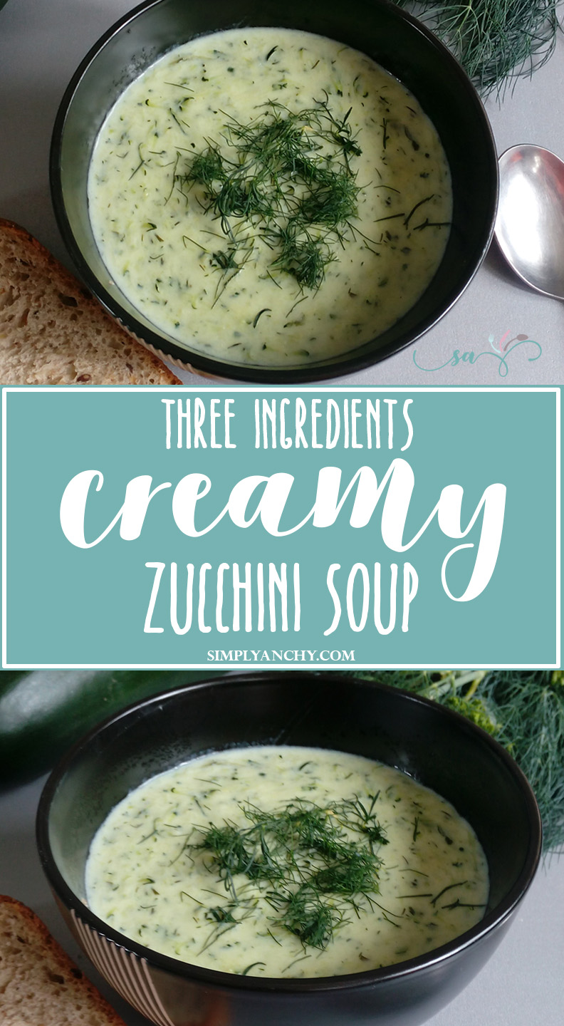 This 3-ingredients Zucchini Soup is what you need for those busy summer nights. Quick and easy to make, and most importantly it is very satisfying. Your family will LOVE it! | simplyanchy.com