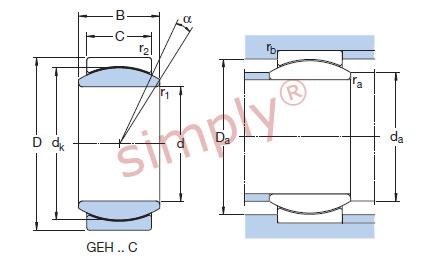 Skf Geh12c Maintenance Free Spherical Plain Bearing Steel