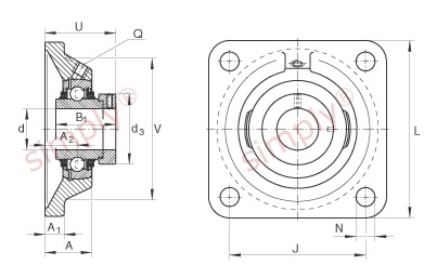 INA TCJ30XLN Four Bolt Square Flanged Housing with 30mm