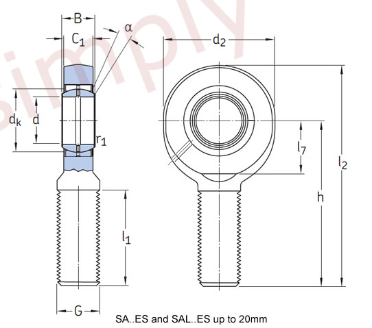 SKF SA17ES Right Hand Steel / Steel Plain Male Rod End M16